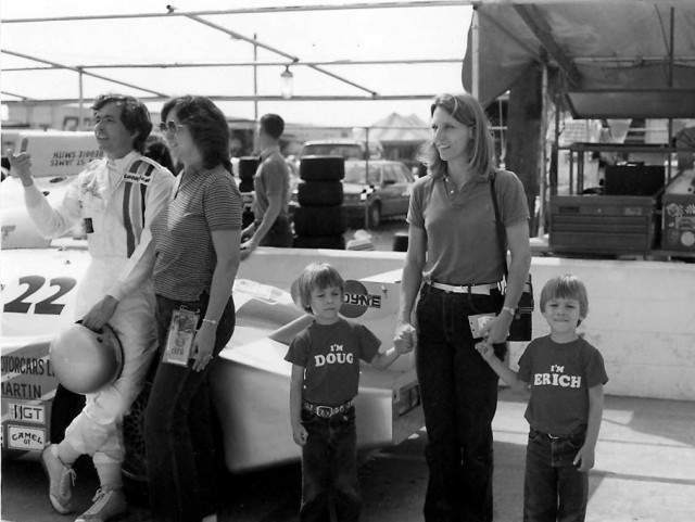Doug and Erich at Sebring with Uncle Reggie and the Aston Nimrod