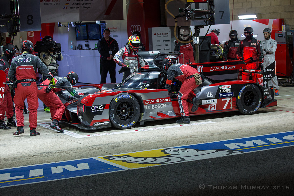 Audi R18 car #7 pulls in for pitstop and driver change at the 2016 24 Hours of Le Mans