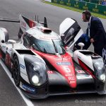 Toyota TS050 stops fro a second time at the start finish line of the 2016 24 Hours of Le Mans