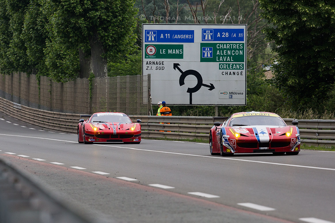 Le Mans 2016 entries GTE AM 458 Italias on the Mulsanne for testing: #62 Scuderia Corsa and #83 AF Corse
