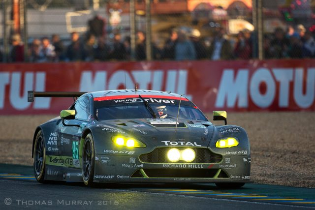 Aston Martin Racing driver Darren Turner drives the 2016 GTE Vantage V8 through the Ford Chicane at Sunset Le Mans 2016