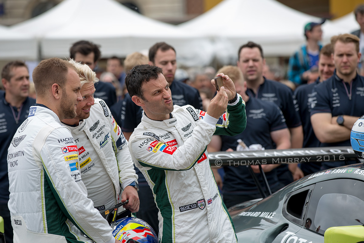 Aston Martin Racing Drivers Darren Turner NickiThiim and Marco Sorensen pose for selfie at Le Mans 2016 Scrutineering