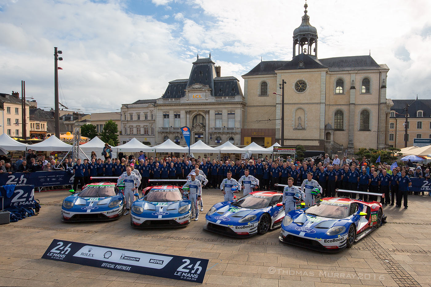 Team photo for all four Ford GT40 entries for the 2016 Le Mans 24