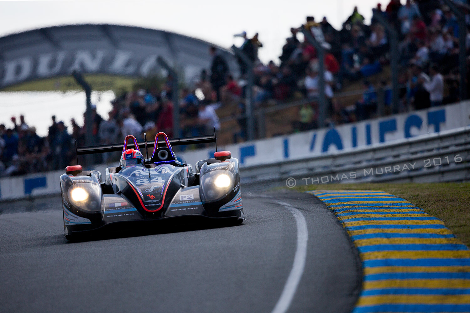 Fred Sausset driving the Oak Racing LMP2 Morgan on approach to Tetre Rouge in the 2016 Le Mans 24