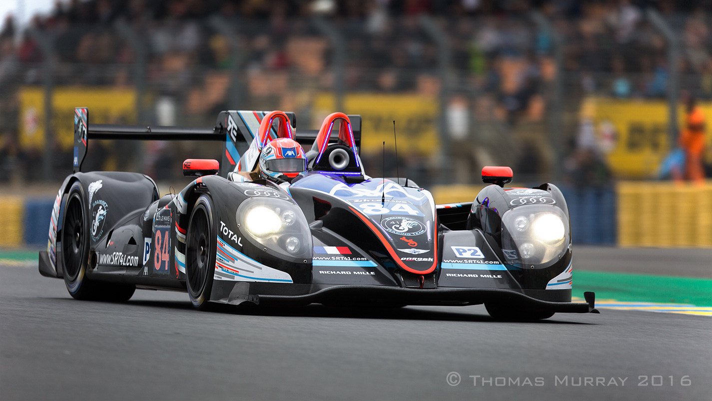 Fred Sausset drives the Oak Racing LMP2 Morgan through the Dunlop chicane in the 2016 Le Mans 24