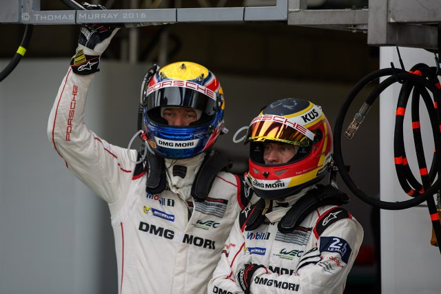 Mark Webber and Timo Bernhard practice driver change excercise for the 2016 24 Hours of Lemans