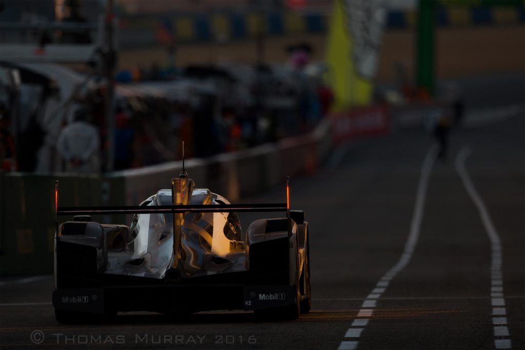 Porsche 919 car #2 enters the pits Saturday night at the 24 Hours of Le Mans photo by Thomas_Murray