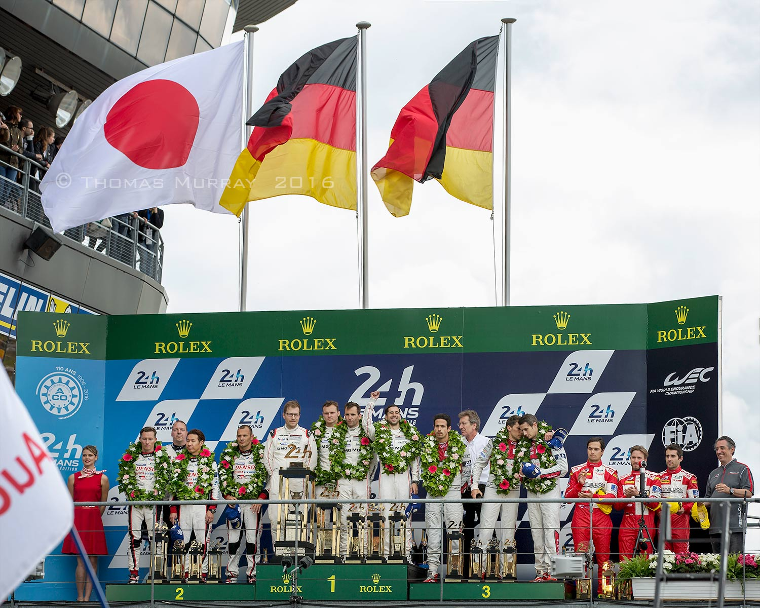 2016 24 Hours of Le Mans LMP1 class trophy presentation Porsche 919 First Place