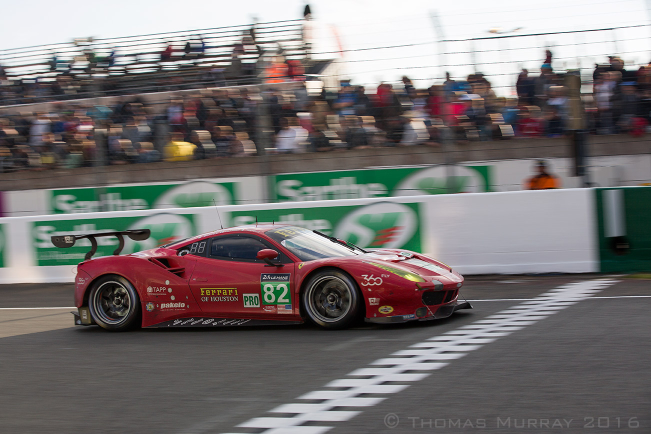 The Risi Competizione Ferrari 488 GTE crosses the finish line with 18 hours left in the 2016 24 hours of Le Mans